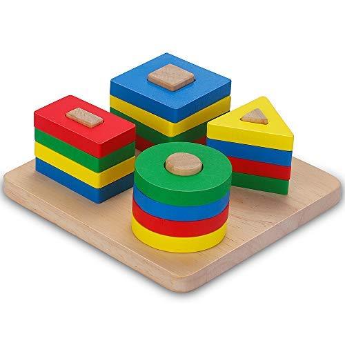 Giocattoli da Puzzle in Legno, Educativo Giocattoli Giochi i Forme Geometriche Impilatore Blocchi per Giocattolo per l'apprendimento della Montessori per Bambini 1/2/3/4 Anni Ragazze e Ragazzi (TypeB)