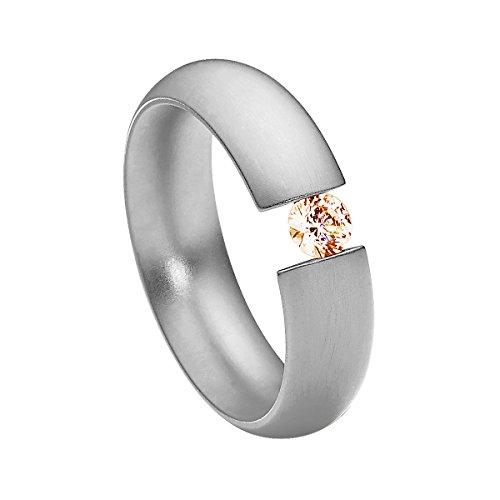 Heideman Ring Damen Intensio aus Edelstahl Silber farbend matt Damenring für Frauen mit Stein Zirkonia braun im Brillant Schliff 4mm