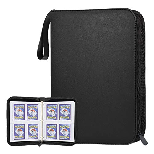POKONBOY 400 Pockets Baseball Card Binder with Sleeves, Trading Card Binder Protectors Compatible with Pokemen, Football and Sports Cards, Card Binder with Zipper, Sheets (Black)