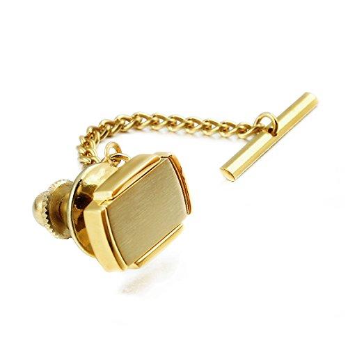 HAWSON Mens Premium Tie Tack Tie Clip for Men Gold and Black Color Square (Gold)