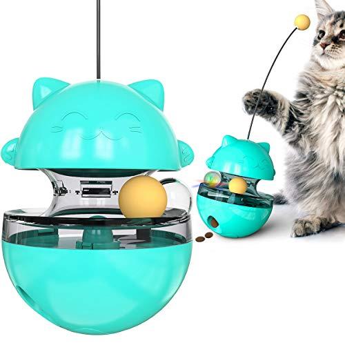 Cute Cat Treat Dispenser,Cat Food Feeding Ball Tumbler Toy,2021 New Updated AdjustablTumbler Food Dispenser Ball Toy, Interactive Fun Slow Feeder Fortune Cat Toy for Cat Kitten(Lake Blue)