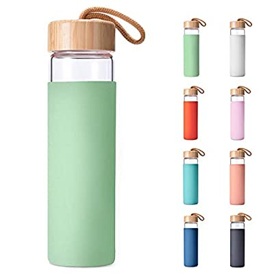 Yomious 20 Oz Borosilicate Glass Water Bottle with Bamboo Lid and Silicone Sleeve – BPA Free (Neo Mint)