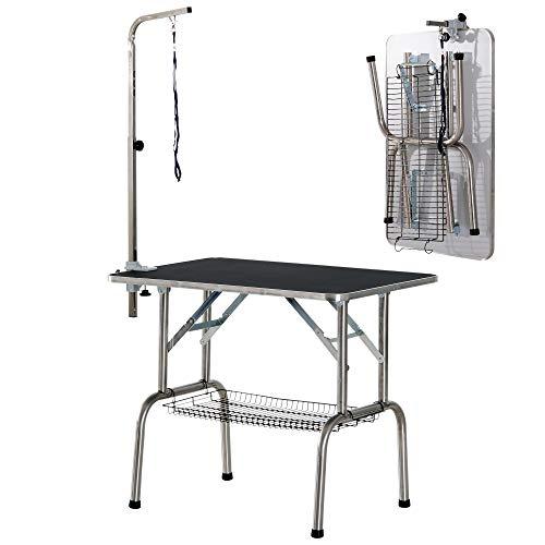 Pawhut, Mesa de Peluquería para Mascotas Acero Aluminio Placa Antiarañazos Caucho 90x60x75 cm