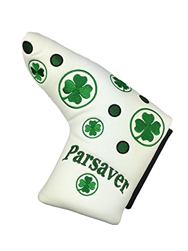 Shamrock Replacement Clover Putter Covers - Lucky Four Leaf Compatible Headcover - for Scotty Cameron Odyssey Taylormade Titleist Ping and Mizuno Blade putters Covers (White)