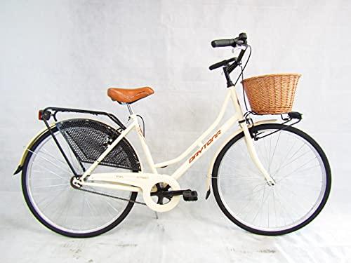 bicicletta donna bici da passeggio classica stile retro vintage olanda 26 colore panna cesto vimini