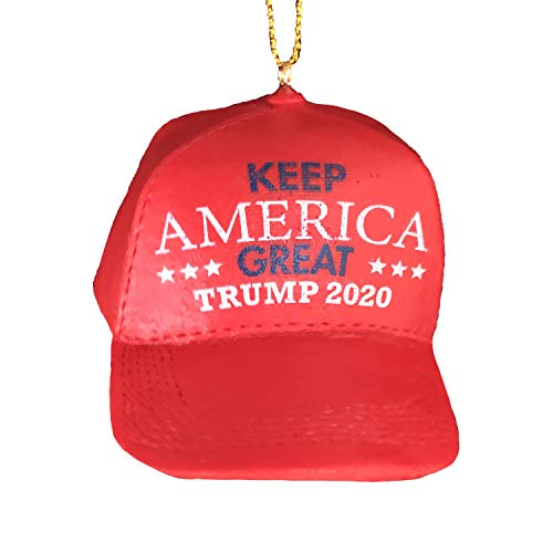 Trump 2020 Ornament - Make America Great Again Ornament - MAGA Hat Trump Christmas Ornaments - Funny Christmas Tree Ornaments - KAG Xmas Tree - Donald Trump Christmas Ornament - Polyresin Red Hat