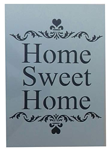 Pochoir en plastique style shabby chic vintage Home Sweet 190 microns A3 420 x 297 mm
