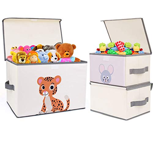 DIMJ Toy Storage Bins with Lids, Toy Chest Fabric Animal Toy Box Foldable Cartoon Toy Organizer Box with Reinforced Handle Closet Container for Kids, Books, Closet, Bedroom, Home