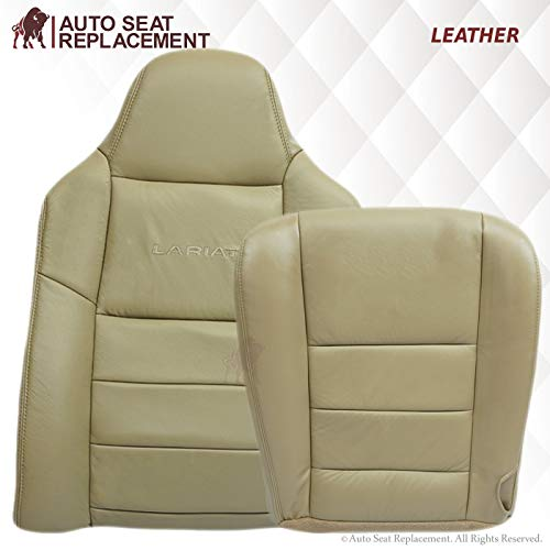 Auto Seat Replacement 2003 2004 2005 2006 2007 Ford F250 F350 Lariat Crew Cab Leather Seat Cover Replacement, F250 F350 Leather Replacement Seat Cover (Driver Bottom & Top, Medium Parchment (Tan))