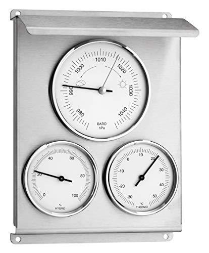 TFA Dostmann Analoge Wetterstation außen, 20.2010.60, mit Barometer, Hygrometer und Thermometer, aus Edelstahl, wetterfest, silber