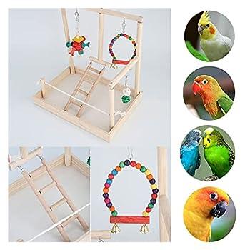 YEZIN Oiseau en Bois perchoir de Perche Perroquet Plate-Forme de Jeu Exercice Gym Gym playder échelle Interactive Jouets Fournitures d'oiseaux (Color : Type3(S))
