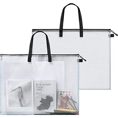 Art Portfolio Bag Poster Storage Bag Board Holder with Handle and Zipper 19 x 24 Inch Organizer Transparent Bag for Large Posters, Poster Board, Painting, Bulletin Boards (2 Pieces)