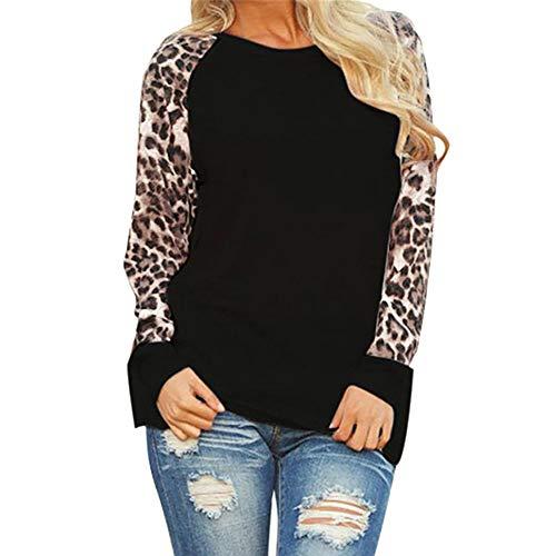 VJGOAL para Mujer Casual Personalidad de la Moda Leopard O-Cuello Blusa de Manga Larga para Mujer Camiseta de...