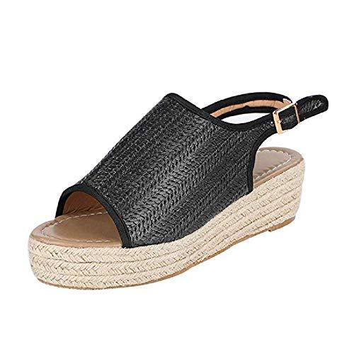 Sandalias Plataforma Cuña Mujer Alpargatas Tacon Verano Bohemias Romanas Abierto Playa Gladiador Tacon 6cm Zapatos de Vestir Negro Marrón Beige 35-43