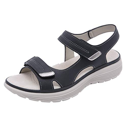 Mbby Sandali Zeppa Donna Premium Ortopedico Sandalo con Velcro Estivi Eleganti Comode Cuoio Sandali Punta Aperta Sportivi Escursionismo Sandaletti Scarpe da Spiaggia e Outdoor 36-40