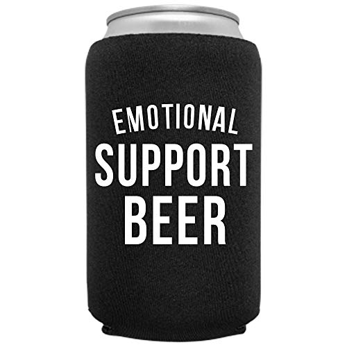 Cool Coast Products | Emotional Support Beer | Funny Can Sleeve Novelty Coolie | Craft Brewery Gag Party Beer | Joke Drink Can Cooler | Beverage Huggie | White Elephant Gifts | Neoprene