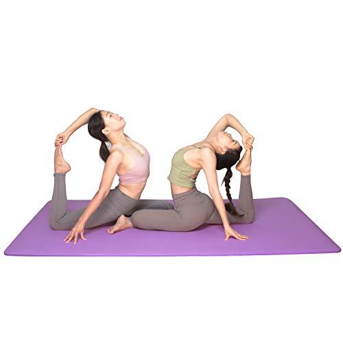 YUREN Colchoneta de Ejercicios Extra Gruesa 15mm 200×130cm NBR Alfombrilla de Entrenamiento Antideslizante y cómoda para Ejercicios de Yoga Pilates estiramientos meditación Piso y Fitness