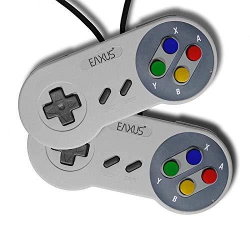 Eaxus®️ 2er Spar-Set Controller für Super NINTENDO SNES 1,5 m. Gamepad / Joypad / Premium Kontroller in den original Farben des Super Nintendo Entertainment Systems inklusive der bunten Buttons