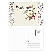 黄色の点滅の笑顔絵文字イラストパターン 公式ポストカードセットサンクスカード郵送側20個