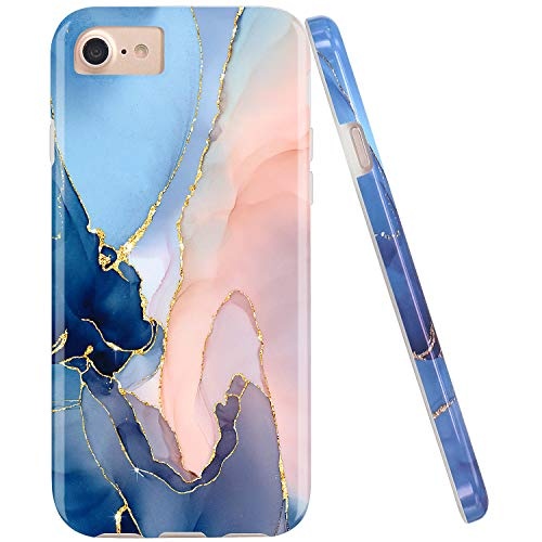 JAHOLAN Gold Glitter Sparkle Purple Marble Design Bumper Glossy TPU Soft Rubber Silicone Cover Phone Case Compatible with iPhone 7 iPhone 8 iPhone 6 6S iPhone SE 2020