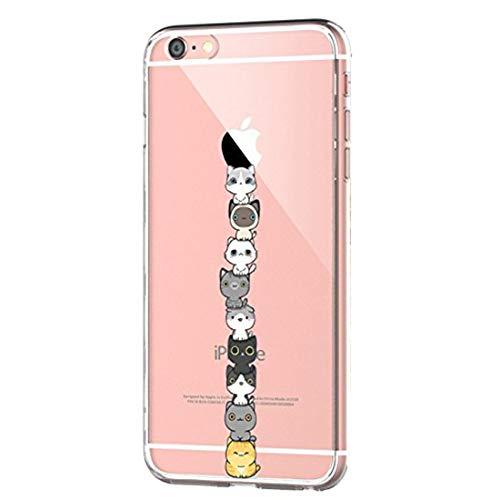 iPhone 6 Case, iPhone 6s Cover, Alsoar Sottile e Leggera Silicone Trasparente Anti Scivolo Graffi Morbido TPU Cute Design Cover per Apple iPhone 6 6s 4.7 Pollici (Gatto)