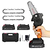 Mini Chainsaw 4-Inch , Portable 24V Cordless Power Chain Saw, Pruning Shears Chainsaw with Brush-less Motor, Chain Kit for Courtyard Tree Branch, Wood Cutting(2 Chains,2 Batteries, Plastic Box)