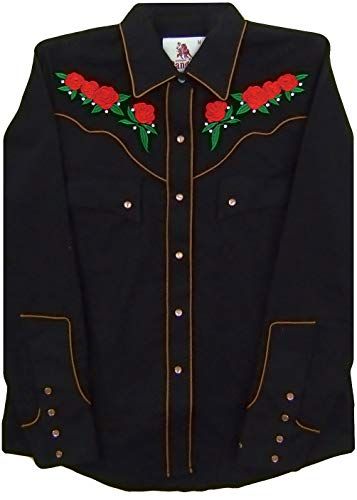 Modestone Women's Embroidered Long Sleeved Fitted Western Camisa Vaquera Floral XL