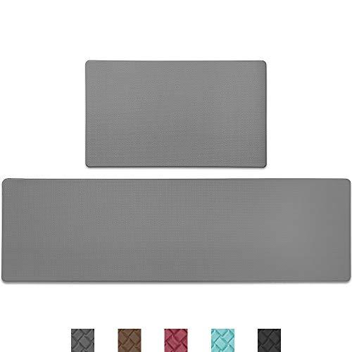 Color&Geometry Komfort Küchenläufer 2 Stück, rutschfeste Küchenteppich mit Ölfest und Wasserdicht PVC, Gummirücken Küchenmatte Teppichläufer für Esszimmer, Küche, Flur (45 x 75 cm +45 x 150 cm, Grau)