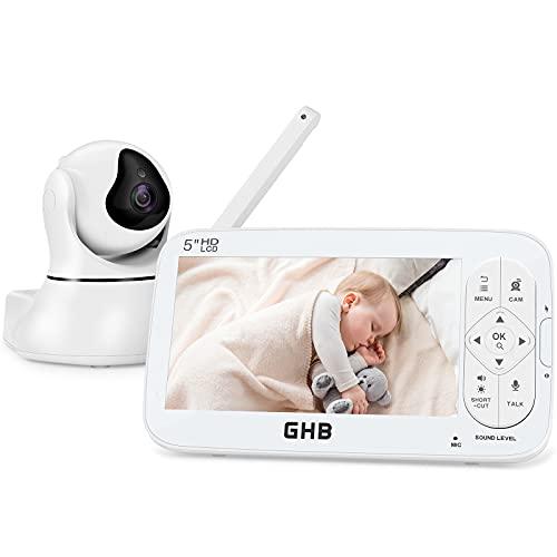 GHB Vigilabebés con Cámara Pantalla LCD de 5 Pulgadas Bebé Monitor Admite 4 Cámaras Modo ECO