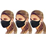 Premium Unisex Adults/Kids Dry Fit Face Protective Covering Gear Washable Reusable Double Fabric Layers (Black 3 Pack)