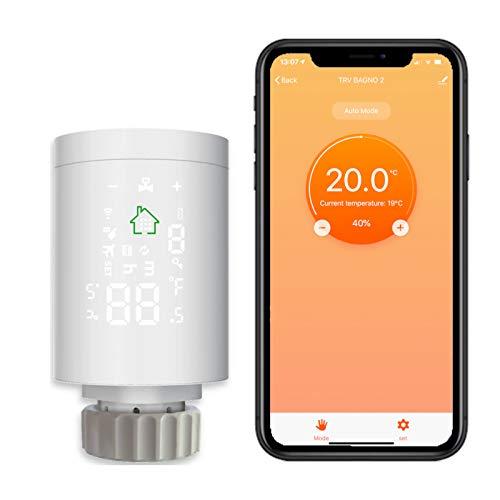 Cabezal inteligente con válvula para radiador, termostática, WiFi, aplicación Smartlife SRV01, compatible con Amazon Alexa y Google Home sin puerta (solo cabezal).