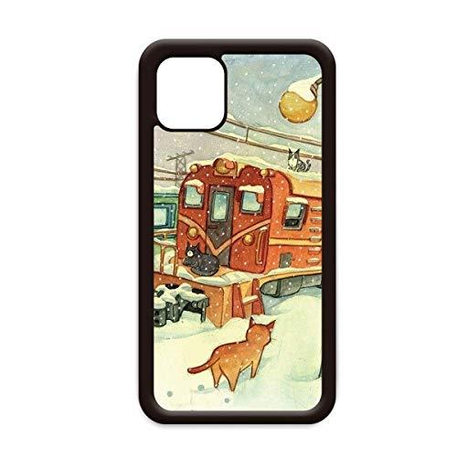 Miaoji Schilderij Kat Winter Sneeuwtrein voor Apple iPhone 11 Pro Max Cover Apple mobiele telefoonhoesje Shell, for iPhone11
