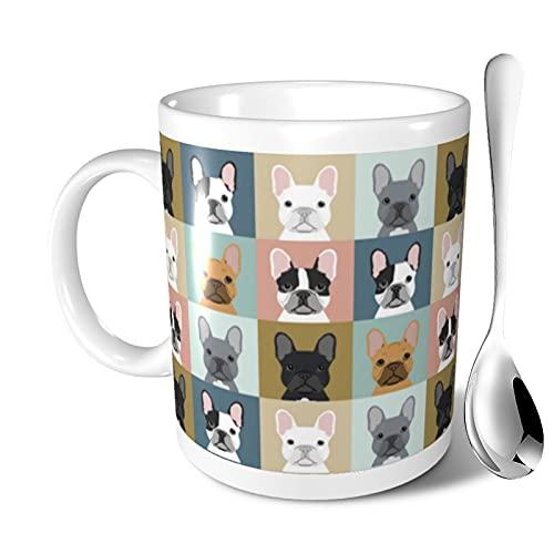 Ceramic Coffee Mug French Bulldogs Dog Mug with Spoon Funny Tea Cup for Travel Office Home 11 Oz