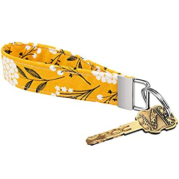 Celokiy Yellow Floral Cute Wristlet Keychains for Women Flowered 100% Cotton Fabric Key Chain Bracelets  A