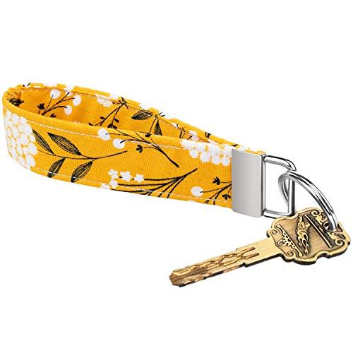 Celokiy Yellow Floral Cute Wristlet Keychains for Women, Flowered 100% Cotton Fabric Key Chain Bracelets (A)