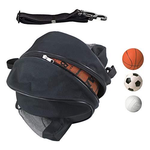 SGMY Bolsa de Baloncesto portátil para Transportar balones de Voleibol de fútbol, Bolsa de Hombro para Deportes al Aire Libre, Equipo de Entrenamiento, Bolsa de Almacenamiento (Black)