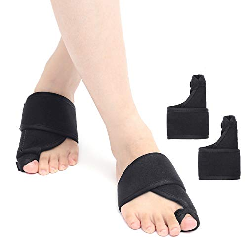 OUTERDO Bunion Corrector, Foot Bunion Splint Elastic and Adjustable Toe Support Comfortable Fit for Unisex, Big Toe Corrector Straightener Pain Relief for Bunion Overlap Crooked Toes (1 Pair)
