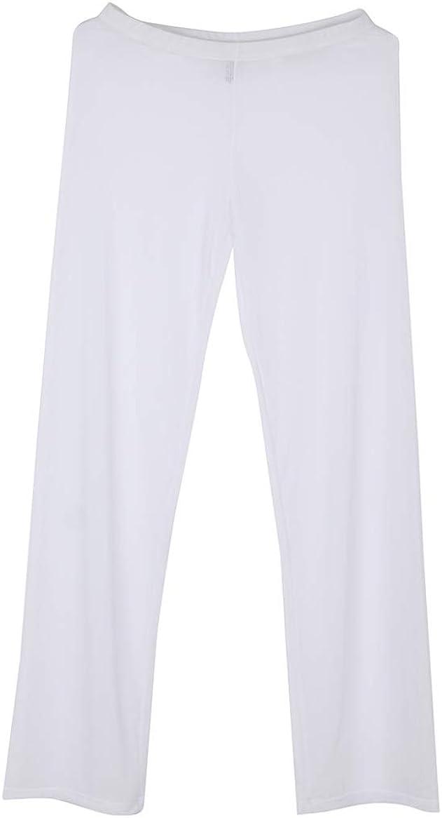 Kaerm Men Mesh See Through Pants Leggings Tights Elastic Low Rise Long Trousers Pajamas Bottoms