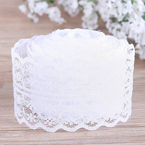 Rollo de cinta de encaje vintage de 4,5 cm x 46 m, para decoración de varios objetos, bodas, bautizos, personalizable, color blanco