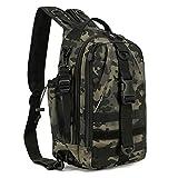 BAIGIO Militär Sling Rucksack Molle Brusttasche Umhängetasche Taktisch Rucksack Angeln Tasche für Trekking Camping Wandern Reisen Angeln (Camouflage schwarz)