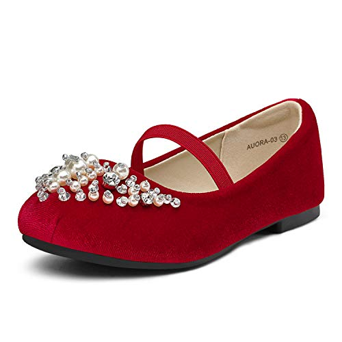 DREAM PAIRS Toddler Aurora-03 Red Girl's Wedding Mary Jane Ballerina Flat Shoes Size 8 M US Toddler