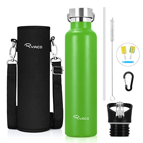 Ryaco Trinkflasche Edelstahl Wasserflasche 560ml 750ml 1000ml, Vakuum-Isolierte BPA-frei auslaufsicher Thermosflasche, 24 Std Kühlen & 12 Std Warmhalten, Inklusive 2 austauschbare Kappen