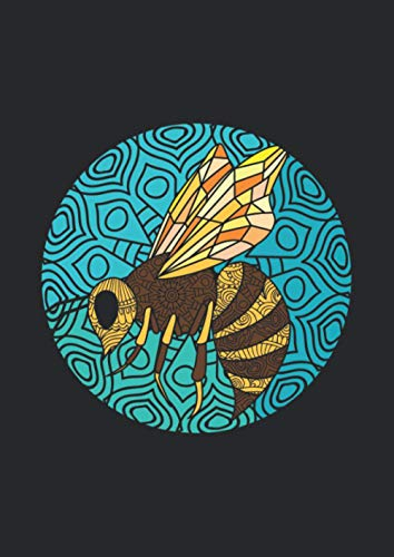 A4 Notizbuch kariert mit Softcover Design: Kunstvolle Biene Wespe im Mandala Retro Vintage Design: 120 karierte DIN A4 Seiten