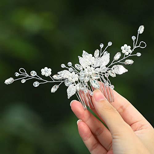 Zoestar Braut Hochzeit Haarkämme Silber Blume Perle Kopfschmuck Braut Kristall Blatt Haarschmuck für Frauen und Mädchen
