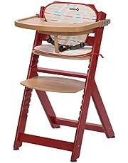 Safety 1St 2760814000 Timba Wysokie Krzesło z Drewna z Pasującymi poduszkami do Siedzenia, Czerwone