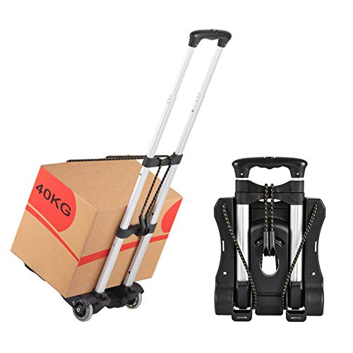 with a 180-pound Mobile Device VARWANEO Folding Trolley Shopping cart 6 Crystal Wheels and 2 Heavy Climbing Ropes Trolley 6 Wheel Aluminum Portable Luggage Trolley can go up The Stairs Black