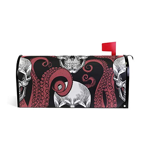 funnyy Witzige Briefkasten-Abdeckung, Motiv: Oktopus, mit Totenkopf-Motiv, magnetisch, Standardgröße, 5,8 x 45,7 cm