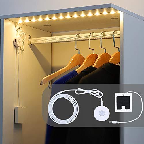 DANCRA LED Streifen mit Bewegungsmelder Batterie Auto Ein/Aus 1M warmweiß flexibel Nachtlicht Baby Bettlicht geeignet für Kleiderschrank Badezimmer Schlafzimmer Küche Schrank Flur Treppen