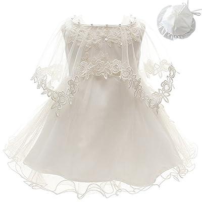 3Pcs Set Baby Girl Dress Christening Baptism Gowns Formal Dress (3M/0-6months) Ivory White