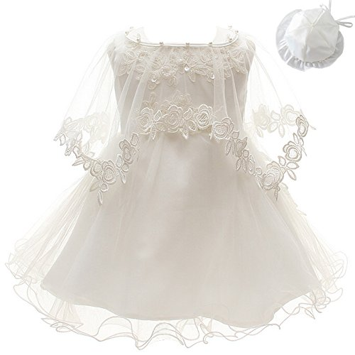 3Pcs Set Baby Girl Dress Christening Baptism Gowns Formal Dress (6M/6-12months) Ivory White